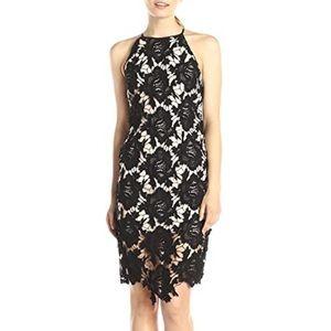 NWT Black Lace Halter Neck Delicate Crochet Dress